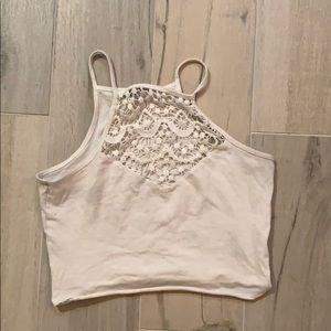 White lace detailed crop top